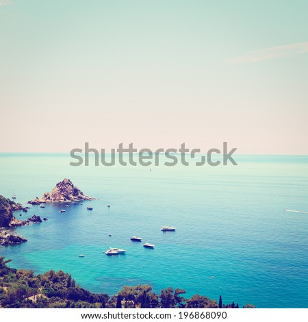 Italian Seascape with Hills and Indented Coastline, Sunset, Retro Effect - stock photo