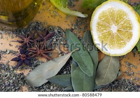 Italian seasonings and spices - stock photo