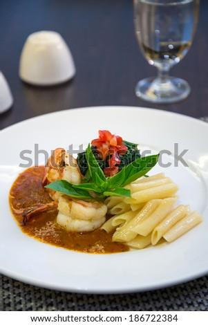 Italian shrimp pasta - stock photo