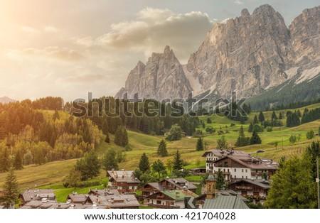 Italian small town of Cortina d'Ampezzo - stock photo