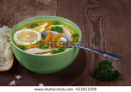Italian soup, on the old boards - stock photo