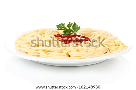 Italian spagetti cooked in a white plate isolated on white