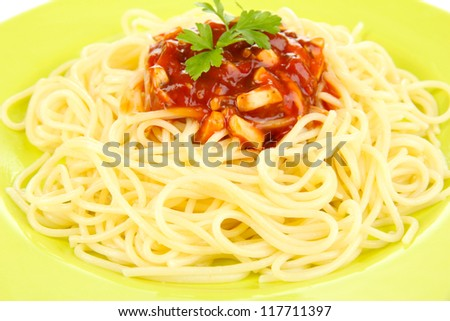 Italian spaghetti in plate close-up