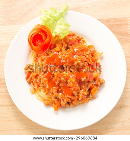 Italian spaghetti pasta with tomato and chicken sauce - stock photo