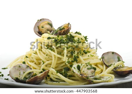 Italian Spaghetti with Clam cooked close up on plate  - stock photo
