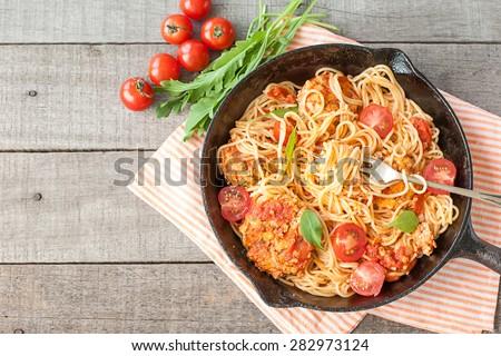 Italian spaghetti with meatballs - stock photo