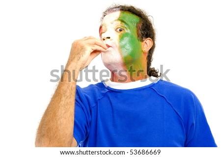 Italian sport fan gesturing - kissing his fingers . - stock photo