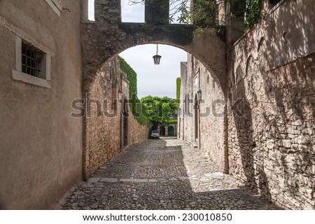 italian street in old town, Italy, Europe - stock photo