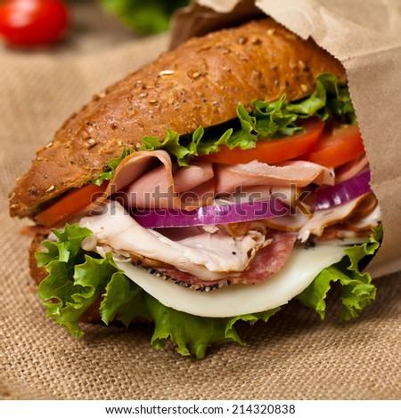 Italian Sub Sandwich with Salami, Tomato, and Lettuce. Selective focus. - stock photo