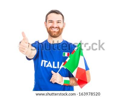 Italian Supporter on White Background - stock photo