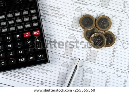 Italian 730 tax form, empty spaces. 2015 edition - stock photo