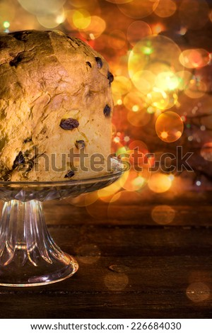 Italian traditional holiday cake panettone panettone,selective focus - stock photo
