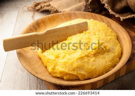 Italian traditional polenta - stock photo