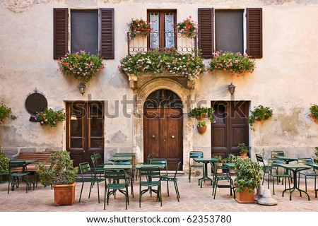 Italian trattoria (tavern), Pienza, Tuscany, Italy - stock photo