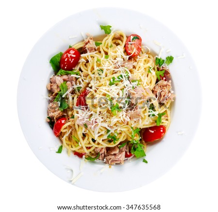 Italian Tuna Pasta spaghetti with tomato, chili, Parmesan cheese and wild rocket lives. isolated on white. - stock photo