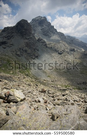 Italian vacation in high mountains of Alps to hike nature  trail
