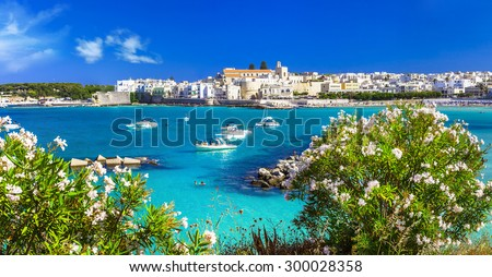Italian vacation - Otranto in Puglia with cristal waters - stock photo