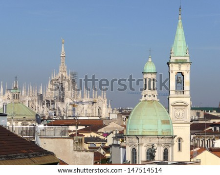 Italian view in Lombardy: Milan roofscape as seen from San Lorenzo area close to Hotel Ariston