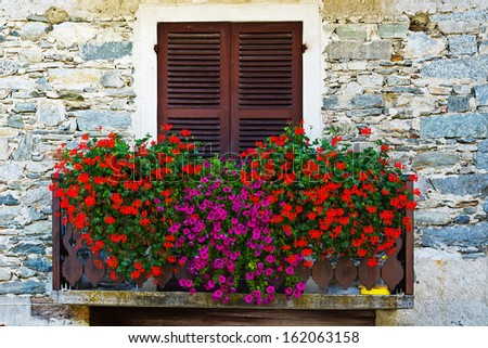 Italian Window with Closed Wooden Shutters, Decorated With Fresh Flowers - stock photo