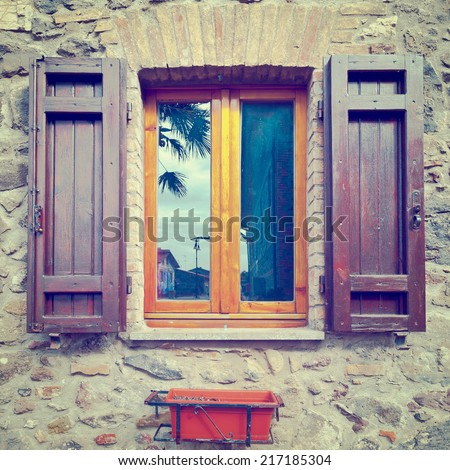 Italian Window with Open Wooden Shutters, Instagram Effect - stock photo