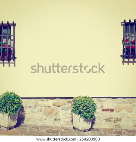 Italian Windows Decorated with Fresh Flowers, Instagram Effect - stock photo