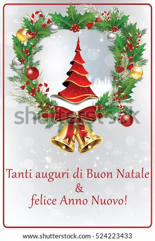 Italian winter holiday greeting card merry stock illustration italian winter holiday greeting card merry christmas and happy new year italian language m4hsunfo