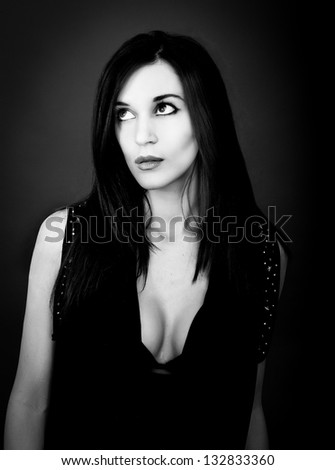 italian woman black and white portrait