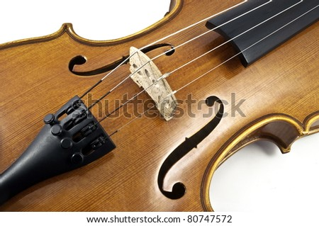 Italian wooden violin Chord details on white background