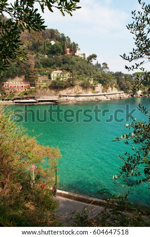Italy, 16/03/2017: a glimpse with view of the bay and beach of Paraggi, an Italian fishing village between Santa Margherita Ligure and Portofino famous for the crystal clear blue water of its beach