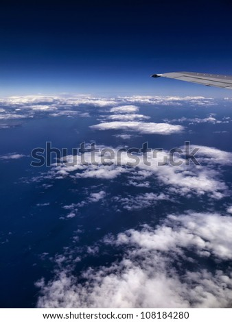 Italy, aerial view of clouds and Tyrrhenian sea