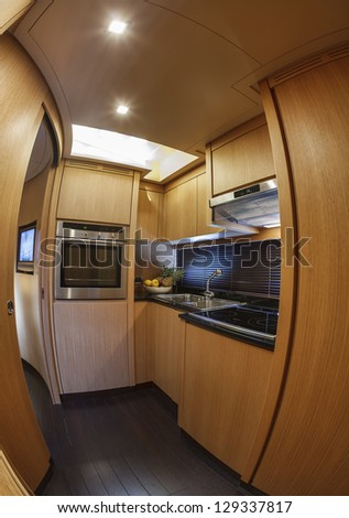 Italy, Alfamarine 72 luxury yacht, dinette, kitchen area