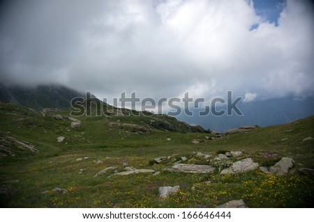 Italy Alps vacation with  hiking sport activity in summer
