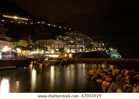 Italy, Amalfi. City at night