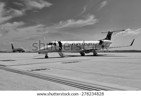 Italy, an executive jet parked in Venice international airport - stock photo