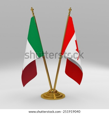Italy and Canada double friendship table flag set