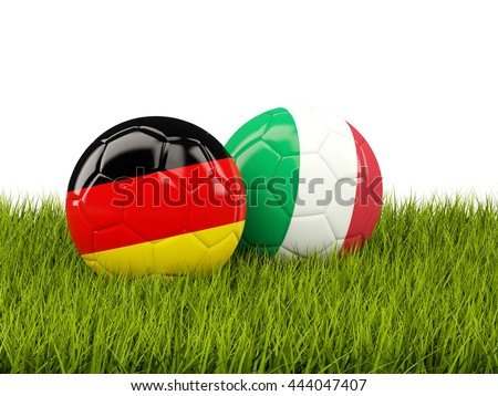 Italy and Germany soccer  balls on grass. 3D illustration