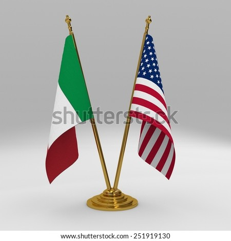Italy and United States double friendship table flag set