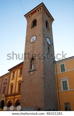 Italy, Bagnacavallo village clock tower