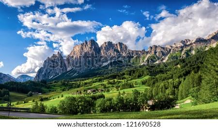 Italy beauty, Dolomites, mountains above Cortina D Ampezzo - stock photo