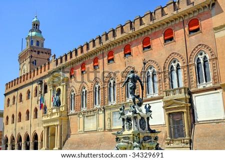 Italy, Bologna Italy, Bologna city council building and Neptune fountain. - stock photo
