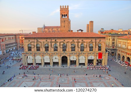 Italy, Bologna King Enzo palace aerial view - stock photo