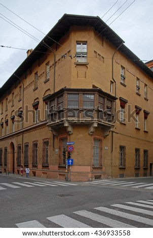 Italy, Bologna old building in Azeglio street. - stock photo