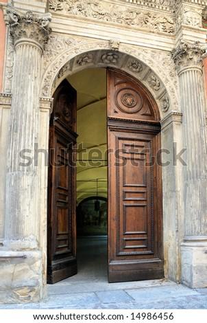 Italy Bologna Spanish college door - stock photo