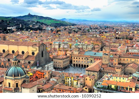 Italy, Bologna view from Asinelli tower. - stock photo
