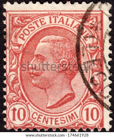 ITALY - CA. 1906: Italian postage stamp ca. 1906 showing King Victor Emmanuel III of Italy, who reigned between 1900-1946 - stock photo