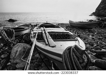 Italy, Calabria, Tyrrhenian Sea, wooden fishing boats ashore - FILM SCAN