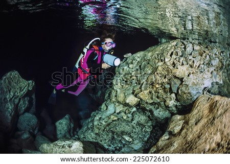 Italy, Campania, Marina di Camerota (Salerno Province), cave diving, Alabaster Cave - FILM SCAN - stock photo