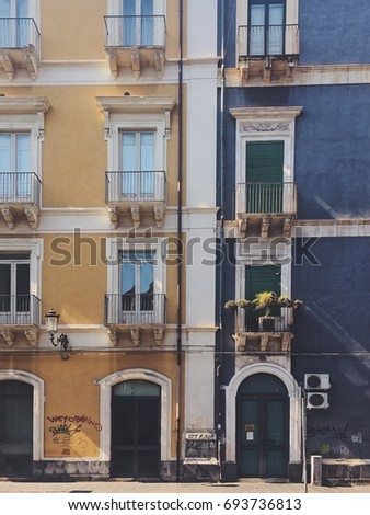 ITALY, CATANIA - JULY 10, 2017: houses located in via Etna