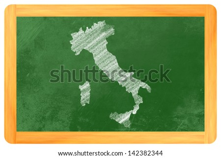 italy chalk drawn on a blackboard - stock photo