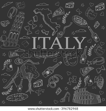 Italy chalk line art design raster illustration. Separate objects. Hand drawn doodle design elements.